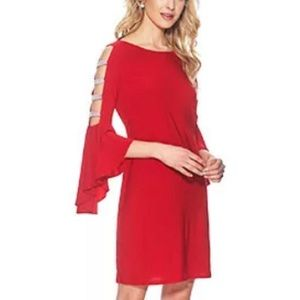 MSK Women's Red Sheath Dress -Rhinestone-Trim - Lg